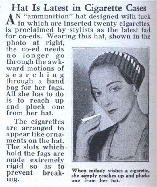 Cappello porta sigarette